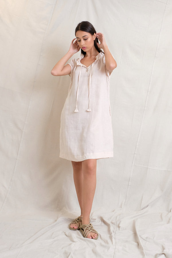 LINEN ISABEL DRESS - Sand