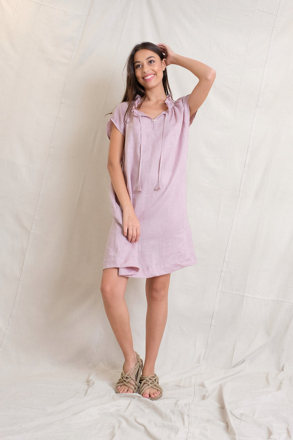 LINEN ISABEL DRESS - Stone
