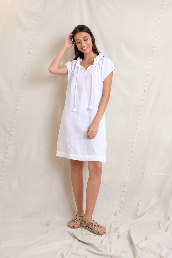 LINEN ISABEL DRESS - White