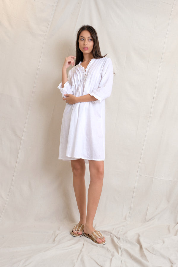 LINEN ANABELLA DRESS - White