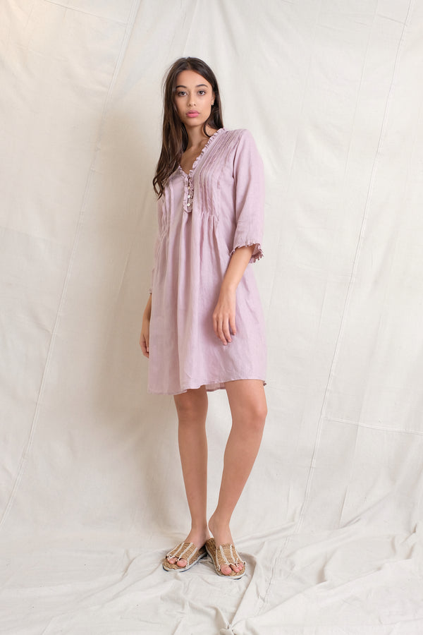 LINEN ANABELLA DRESS - Stone