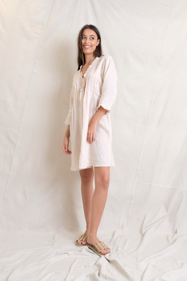 LINEN ANABELLA DRESS - Sand