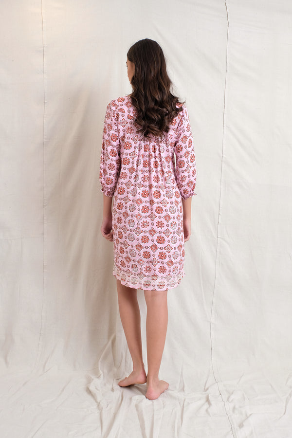 SMOCKED IVY DRESS - Raspberry
