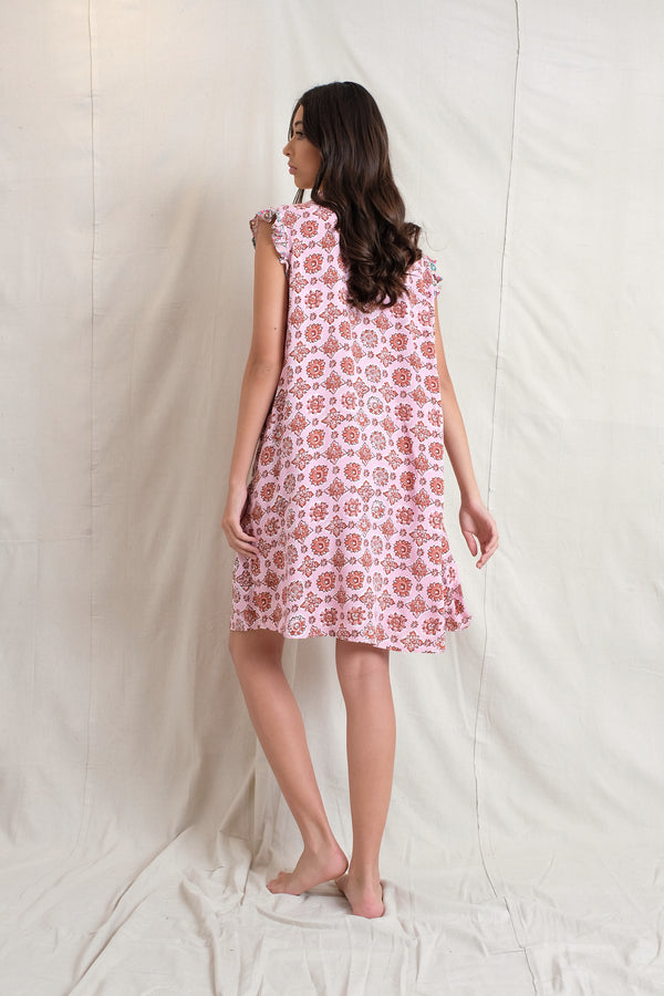 IVY PINTUCK DRESS - Raspberry