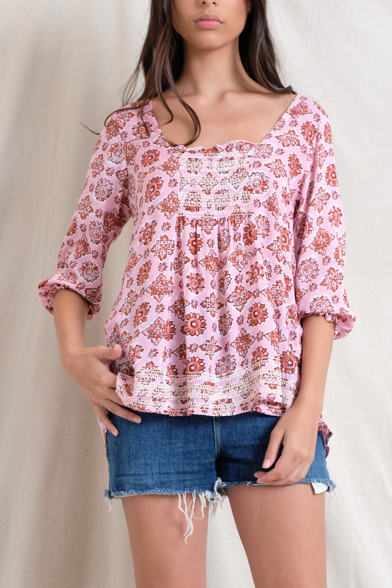 SMOCKED IVY TOP - Raspberry