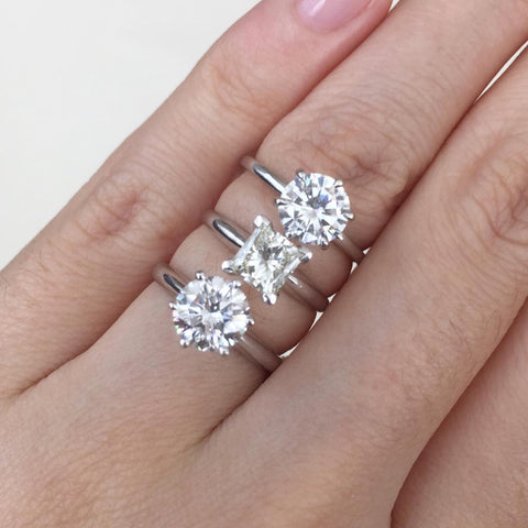 One Moissanite and Two Diamonds