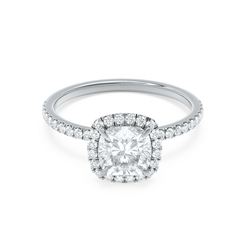 Cushion Cut White Gold Halo Pave