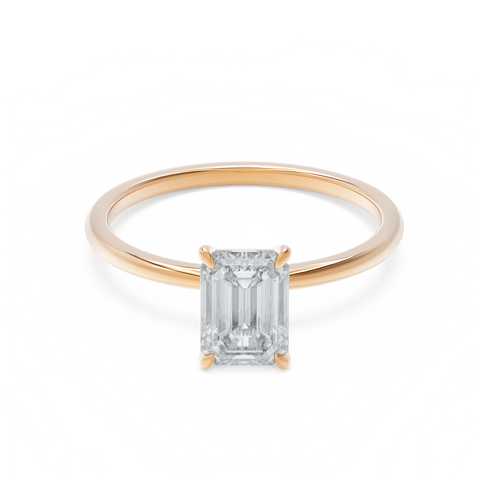 Emerald Cut Rose Gold Moissanite