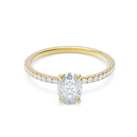 Oval Cut Yellow Gold Pave Moissanite