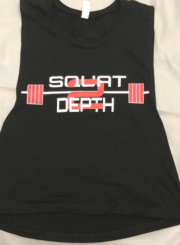 Debut Logo Muscle Tank Crop Top - Squat 2 Depth Apparel