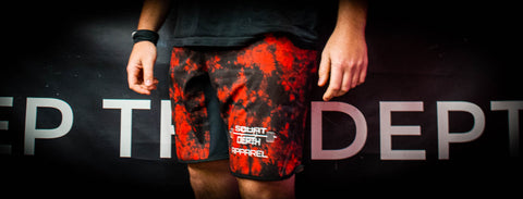 Red/Black Tie Dye Squat Shorts