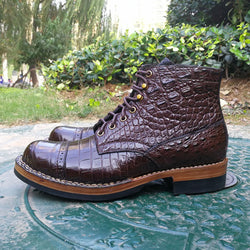 Handmade Men's / Women's HCP Crocodile Cap Toe Boot