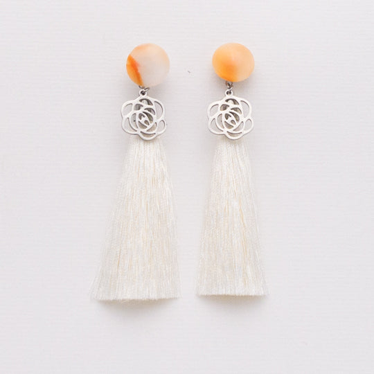 Peach Sorbet Tassel Earrings