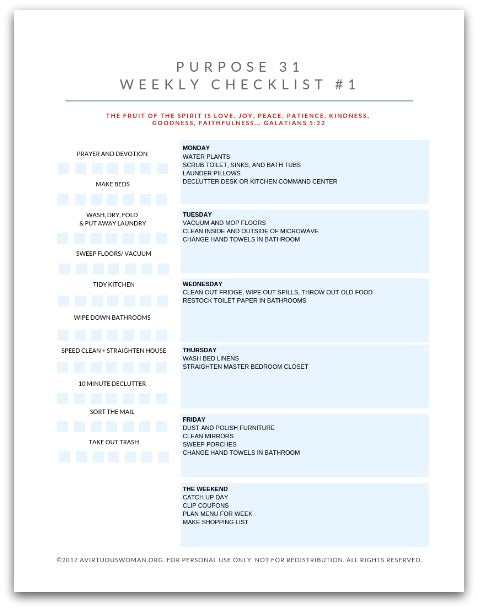 Purpose 31 Weekly Checklist Binder | 54 Pages | Homemaking | Perpetual Chores