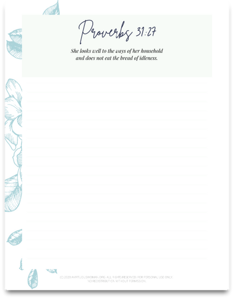 Homemaking Scripture Writing Notebook | 38 Pages