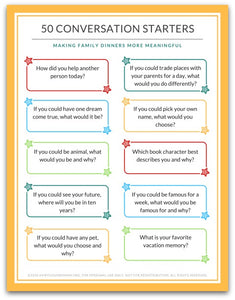 50 Family Dinner Conversation Starter Cards