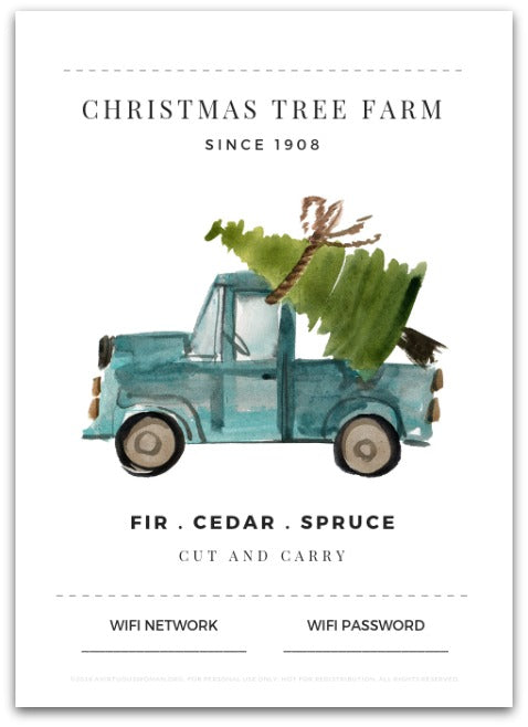 Christmas Tree Truck WiFi Password Printable | Guest Bedroom