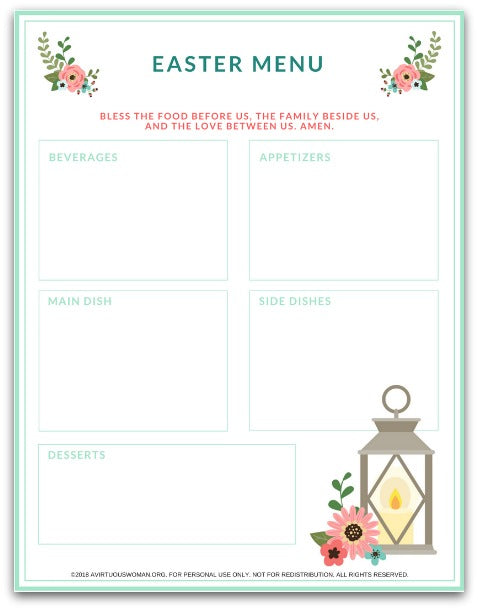 Easter Sunday Dinner Menu Planner