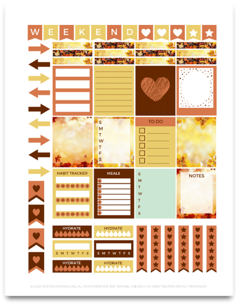 Fall Planner Stickers | Printable Planner Stickers | 4 pages