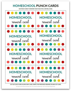 Homeschool Punch Card | Reward Card for Kids