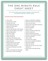 The One Minute Rule Cheat Sheet | 40 Tasks in Less than One Minute