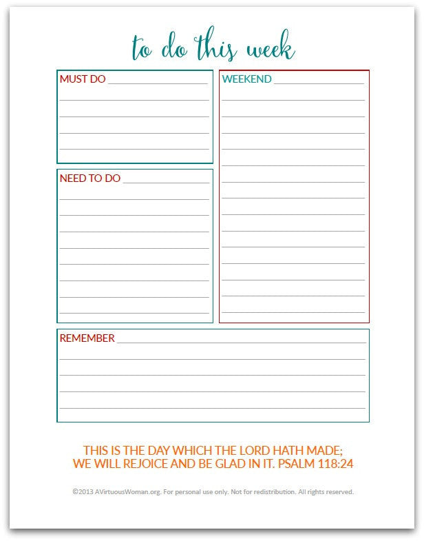 To Do This Week | To Do List | Planner Insert