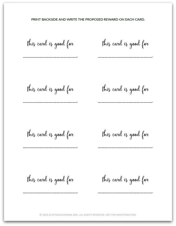 Blank Reward Punch Card | Reward Card for Kids