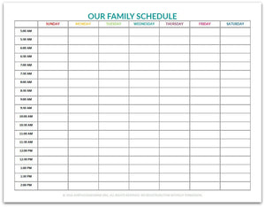 our family schedule chart purpose 31