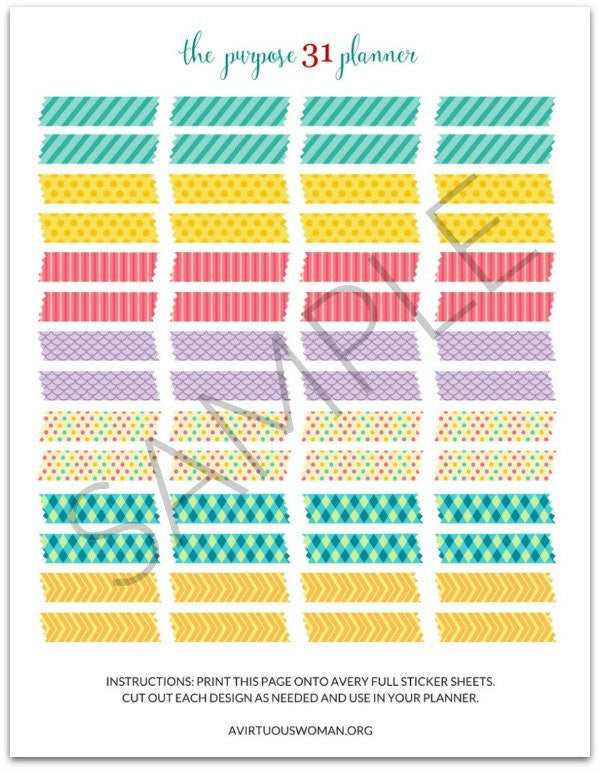 "PDF: Printable ""Washi Tape"" Planner Stickers"