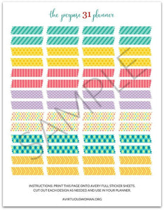 "Printable ""Washi Tape"" Planner Stickers"