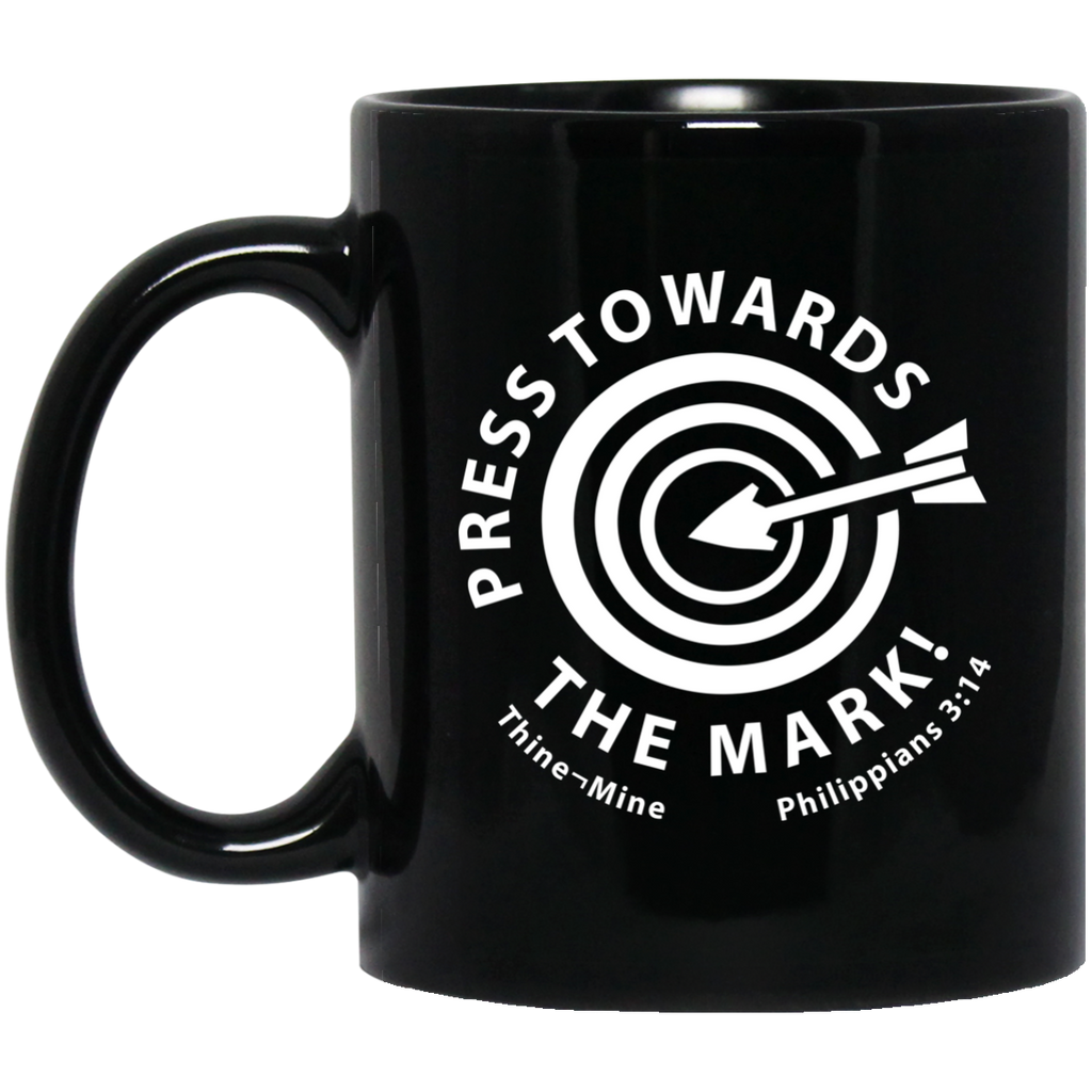 """Press Towards the Mark"" 11 oz. Black Mug"