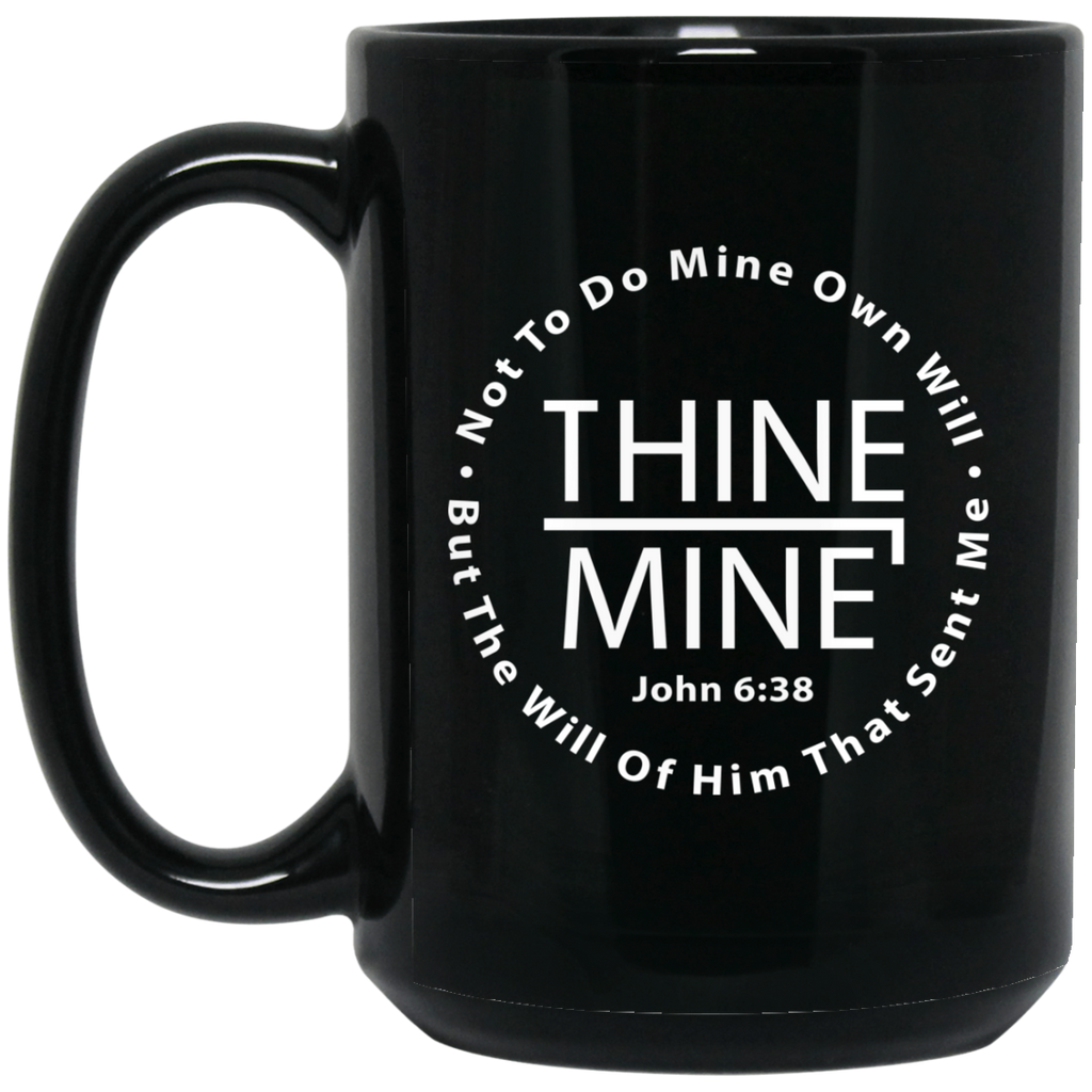 """Thine¬Mine Circular"" 15 oz. Black Mug"