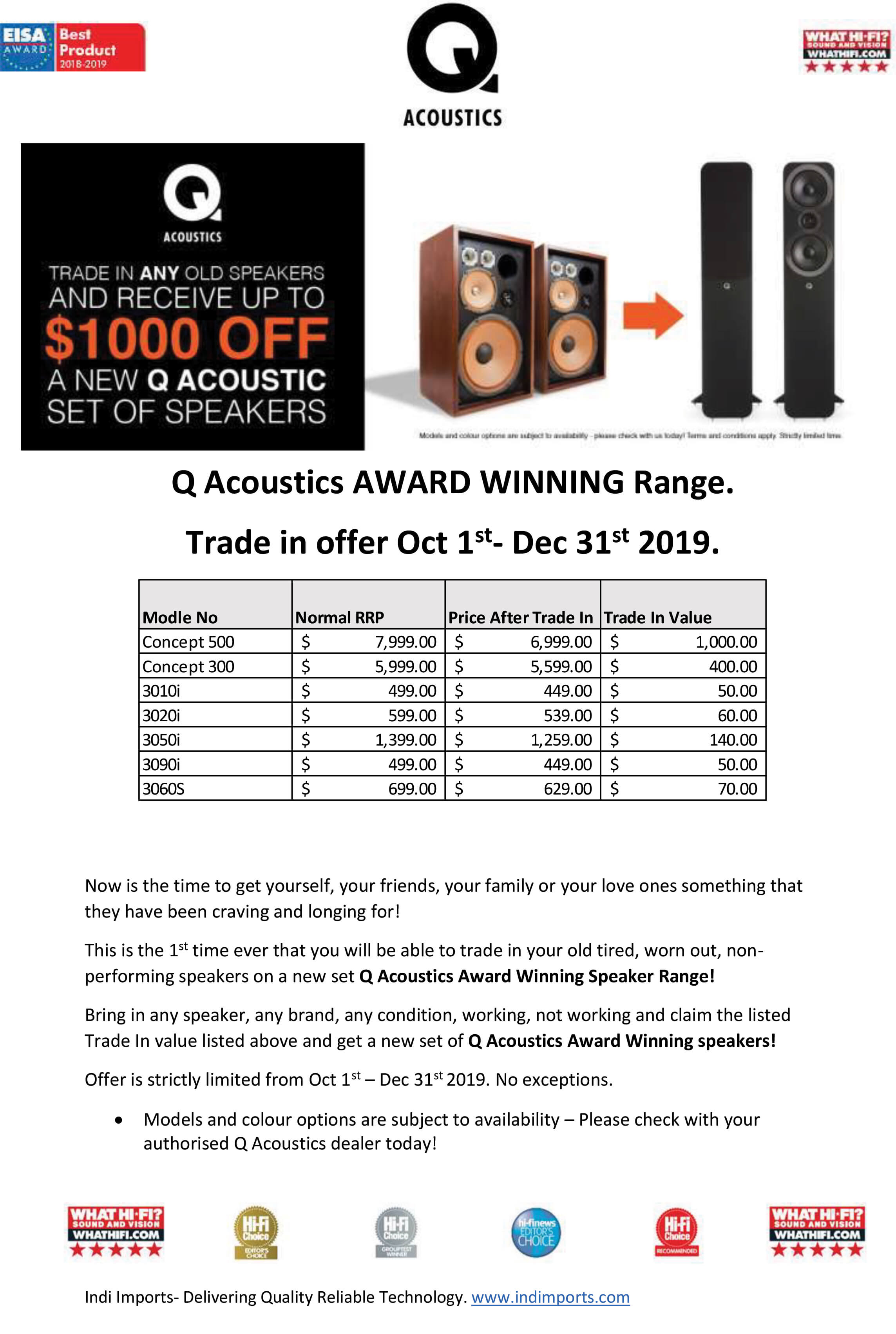 Q Acoustics Trade In Promotion 2019