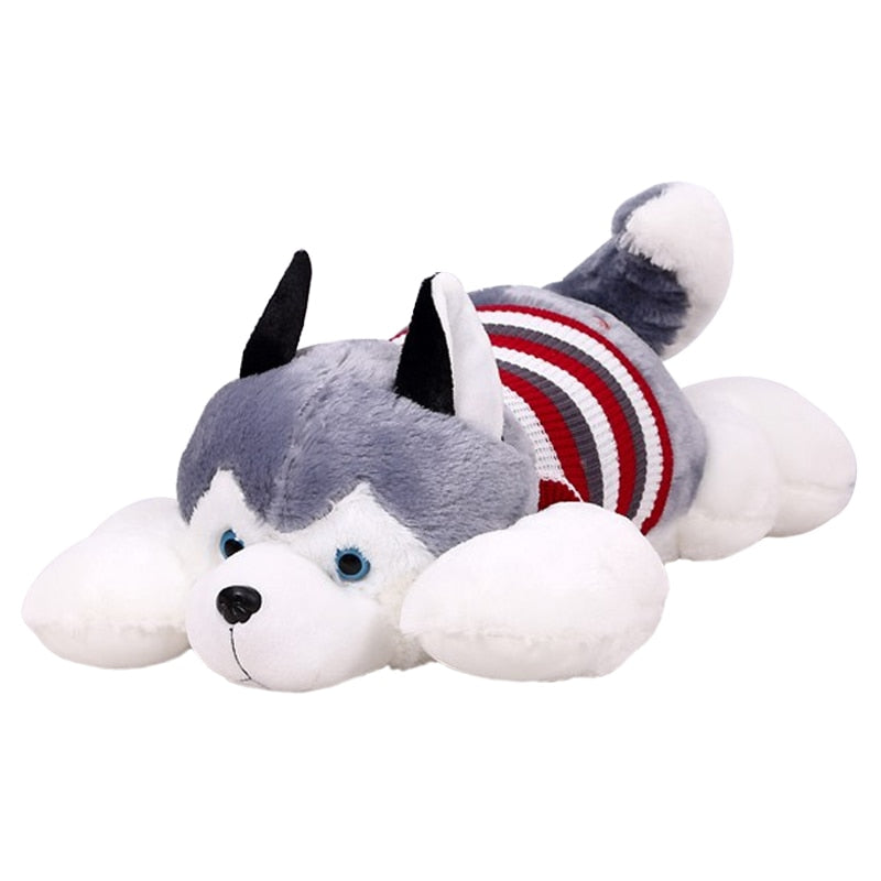 Siberian Husky Lies Prone 40cm Soft Toy