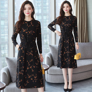 Women Floral Vintage Dress Long Sleeve - shopaholics