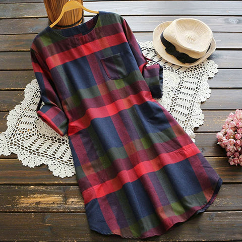 Autumn Winter New Women Ladies Plaid Long Sleeve |  A-Line Loose Pocket Swing Vintage Dress