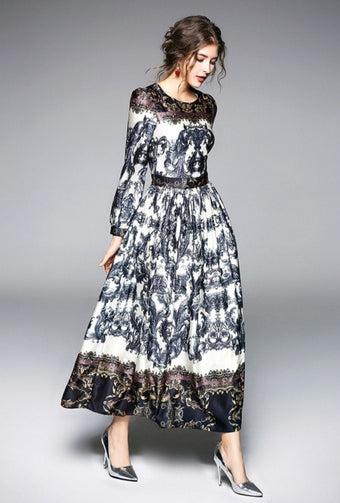 Tribal Print O-Neck with Puff Sleeves Women Dress - Shopaholics
