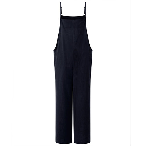 Women Cotton Linen Wide Leg Long Jumpsuit - shopaholics