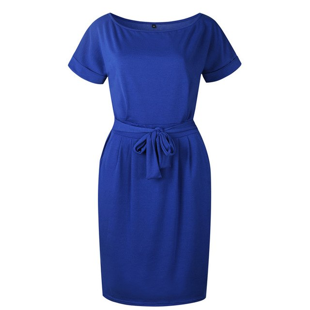 Women Casual Solid O-Neck Straight Dress - shopaholics