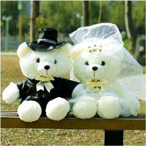 Wedding Couple Bear Soft Toys - shopaholics