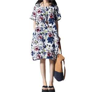 Women Vintage Floral Print Cotton Midi Dress - shopaholics