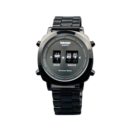 Black Drum Roller Wrist Watch For Men - Shopaholics