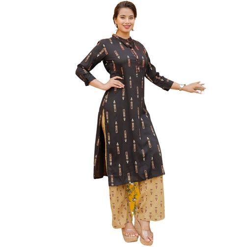 Black Rayon Printed Kurti And Plazzo For Women - Shopaholics