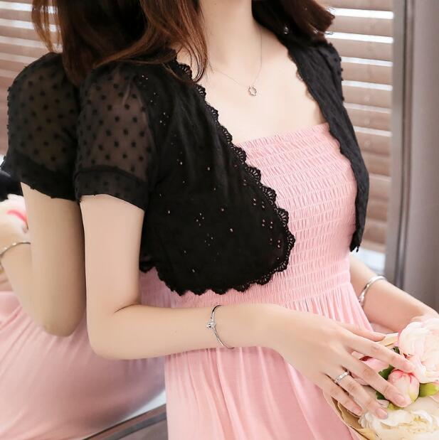 Women Lace Shrug Shawl Short Sleeves - shopaholics