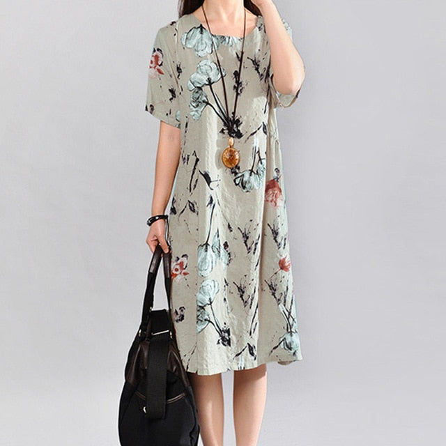 Women Vintage Floral Linen Dress - shopaholics