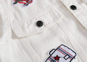 Vintage White Ripped Denim Jacket for Men