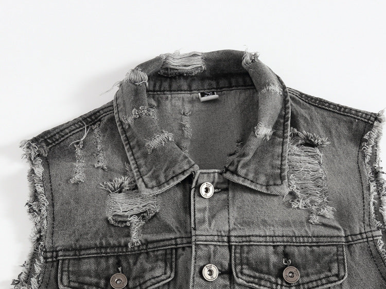 Vintage Ripped Denim Jacket for Men