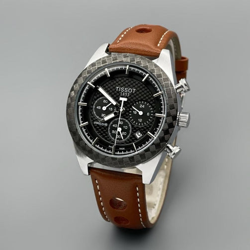 Designer Brown Leather Strap Wrist Watch For Men - Shopaholics