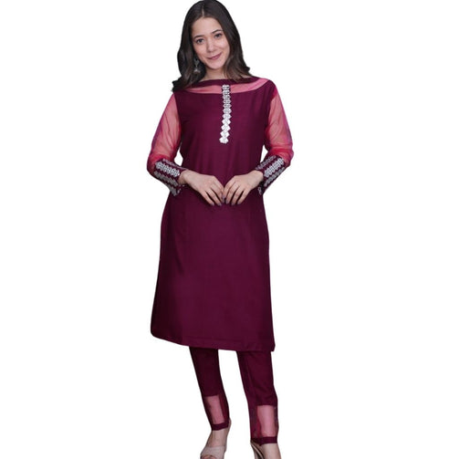 Designer Net Sleeves With Pant Kurti For Women - Shopaholics