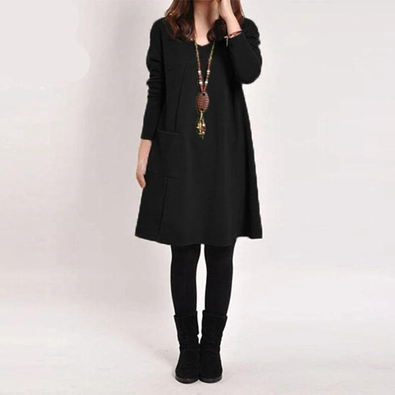 Casual Long Sleeve Midi Dress for Women